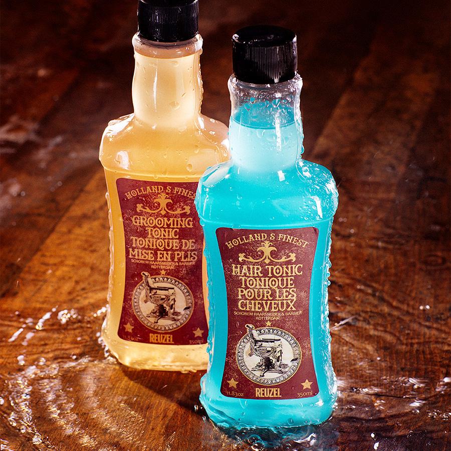 Produktfotografie für Haarwasser. Inszenierung von Produktverpackungen und Flaschen.